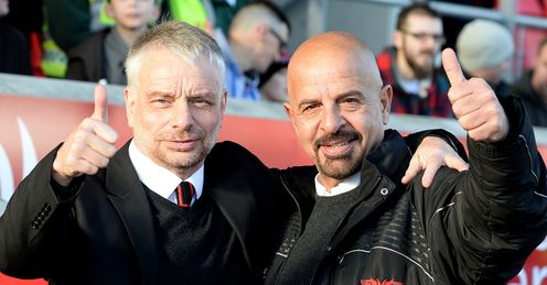 Salford Red Devils coach Brian Noble left and owner Marwan Koukash 2014