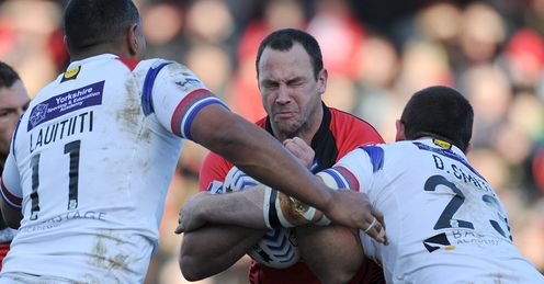 Salford v Wakefield Adrian Morley tackled 2014