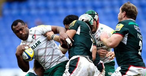 Vereniki Goneva taking contact for Leicester Tigers in Aviva Premiership game