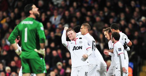 Rooney: celebrates scoring United's second