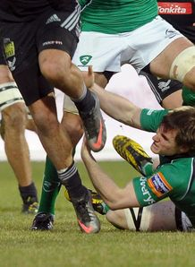 Connacht centre Kyle Tonetti making a tackle