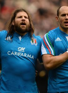 Martin Castrogiovanni alongside Sergio Parisse for Italy anthem