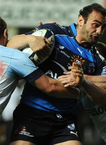 Montpellier s Mamuka Gorgodze C is tackled by Bayonne