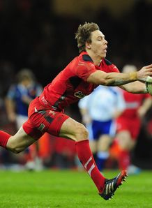 Wales back Liam Williams reaching for ball