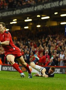 Wales wing George North scoring a try in the Six Nations