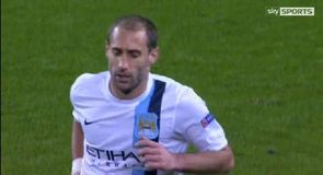 Zabaleta sent off after City denied penalty