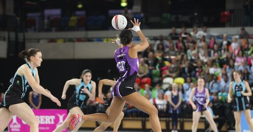 Layla Guscoth (seen here at at Netball London Live) shone in Mavericks win over Celtic Dragons.