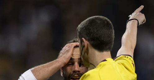 Real defender Dani Carvajal despairs at a refereeing decision