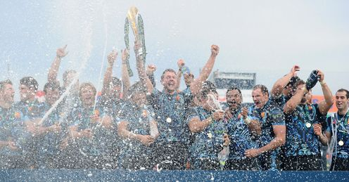 Exeter Chiefs captain Dean Mumm lifts the LV trophy