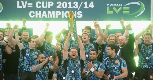 Exeter Chiefs celebrate after winning the LV=Cup on their own turf