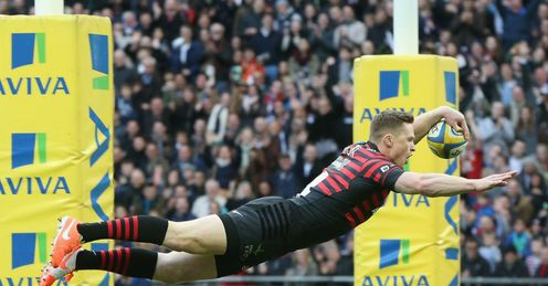 Chris Aston scores try for Saracens Harlequins Wembley