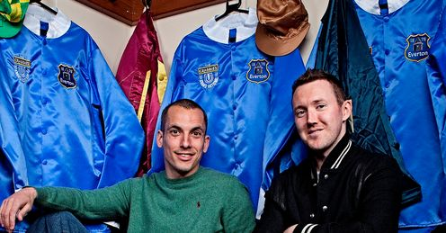 Leon and Aidan in the weighing room with Crabbie's Grand National Everton silks