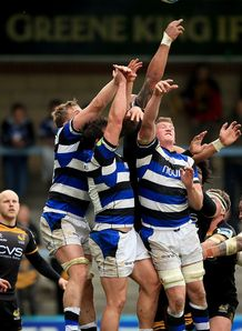 Bath players jumping for ball in Challenge Cup semi final