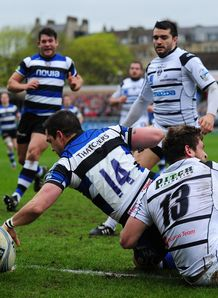 Bath wing Horacio Agulla scoring in Amlin Challenge Cup