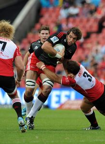 Crusaders lock Sam Whitelock on a run