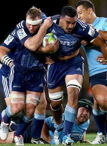Jerome Kaino of the Blues charges forward v Waratahs 2014