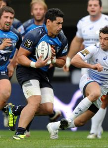 Montpellier s Alex Tulou C vies with Castres Julien Tomas