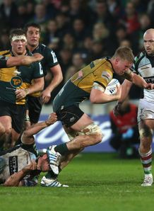 Northampton Saints lock James Craig carrying against Harlequins