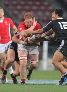 Ospreys number eight Dan Baker in action for Wales U20s