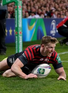 Saracens wing Chris Ashton after scoring his second try in Heineken Cup quarter final