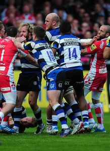 Tempers fray during Gloucester v Bath 2014