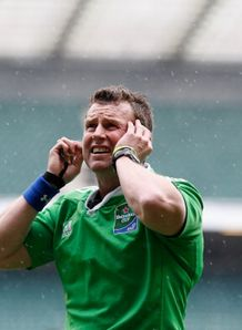 nigel owens strains to hear TMO saracens v clermont