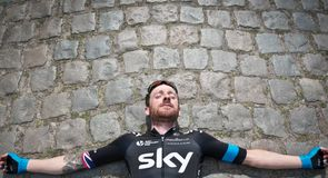 Sir Brad has a post-ride stretch on some of the very cobbles he'll race on come Sunday