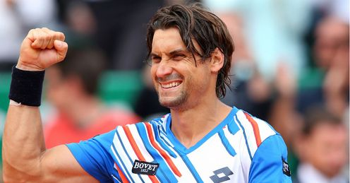 David Ferrer celebrates defeating Rafael Nadal