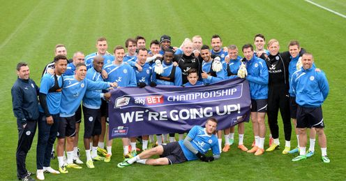 Leicester celebrated promotion to the Premier League at training
