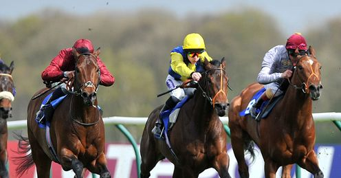 Sacred Act, ridden by William Buick (left), wins at Nottingham
