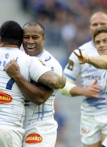 Castres s Seremala Bai C celebrates after drop v Montpellier top 14 semi final