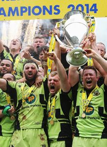 Northampton celebrate with Aviva Premiership trophy