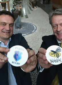Pierre Arnald L Director General of Stade Francais Paris and Nick Eastwood CEO of London Wasps