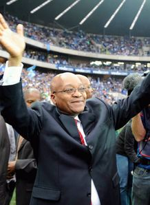 President Jacob Zuma waves to the crowd during the Super 14 final