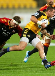 TJ Perenara of the Hurricanes v Chiefs