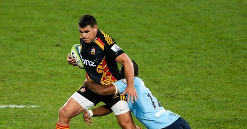 Chiefs wing Dwayne Sweeney being brought down against Waratahs