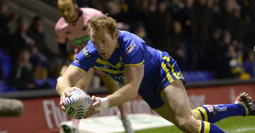 Joel Monaghan scores a try for Warrington Wolves