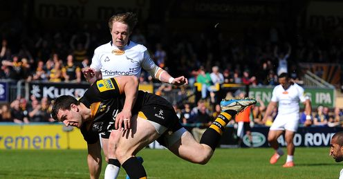 AVIVA PREMIERSHIP RUGBY RUGBY UNION RUGBY UNION TOURNAMENT CHARLIE HAYTER TRY V NEWCASTLE