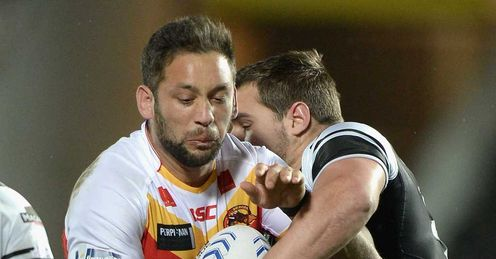 Olivier Elima and Josh Bowden - Catalan v Hull - Feb 2014