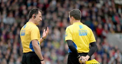 Greg Garner Referee Saracens Leicester Tigers Welford Road Aviva Premiership Rugby union
