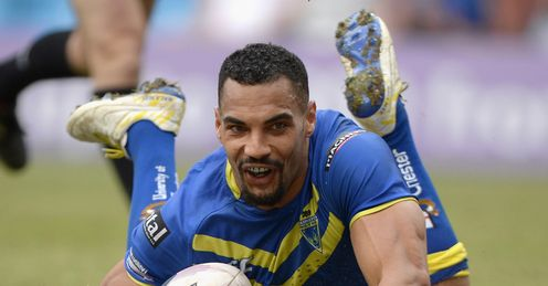 RUGBY LEAGUE WARRINGTON V ST HELENS RYAN ATKINS TRY