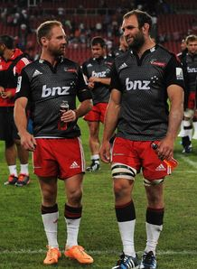 Crusaders duo Andy Ellis and George Whitelock chatting