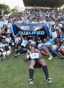 Fiji celebrate qualifying for Rugby World Cup 2015