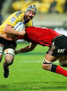 Hurricanes forward Blade Thomson against Crusaders