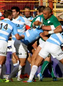 Ireland wing Simon Zebo held against Argentina
