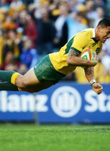 Israel Folau try dive Australia v France  Third Test