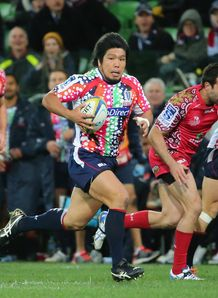Rebels hooker Shota Horie on a run