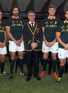Springbok debutants Oupa Mohoje Handre Pollard Victor Matfield South Africa Heyneke Meyer Stephan Lewies Marcel van der Merwe and Marnitz Boshoff
