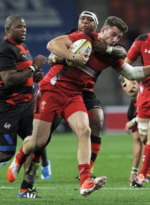 Wales wing Alex Cuthber held against Eastern Province Kings