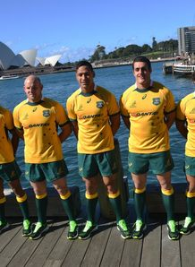 Wallabies in new jersey for photoshoot